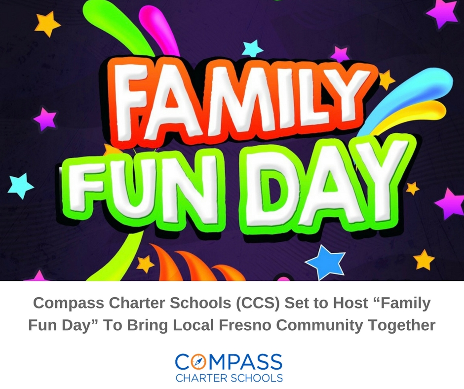 flyer image of Family Fun Day event by Compass Charter Schools, a tk-12 grade online and homeschool program
