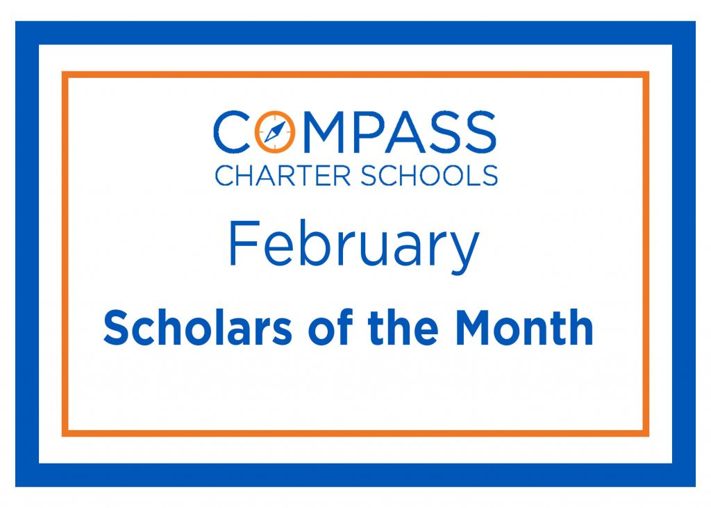 Logo for the Student of the Month SOTW recognitions at Compass Charter Schools, with TK-12 grade online and homeschool programs.