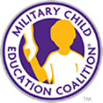 Logo for the Military Child Education Coalition and Compass Charter Schools, a TK-12 grade Online and Homeschool program, is a part of